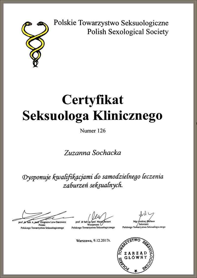 Certyfikat Seksuologa Klinicznego Zuzanna Sochacka